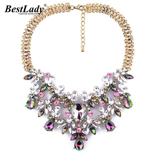 Mejor señora Mujeres de La Moda de Lujo Collar Llamativo Colorido de La Flor de Boho Maxi Collar de la Gema de Lujo de la Cadena Gota Joyería Marca B334