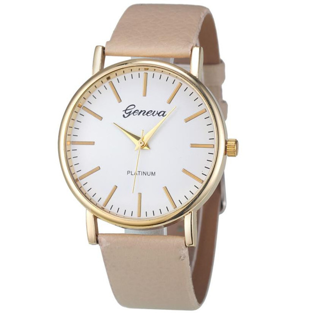 Geneva Fashion Simple Leisure Women Analog Leather Quartz Wrist Watch Watches Re