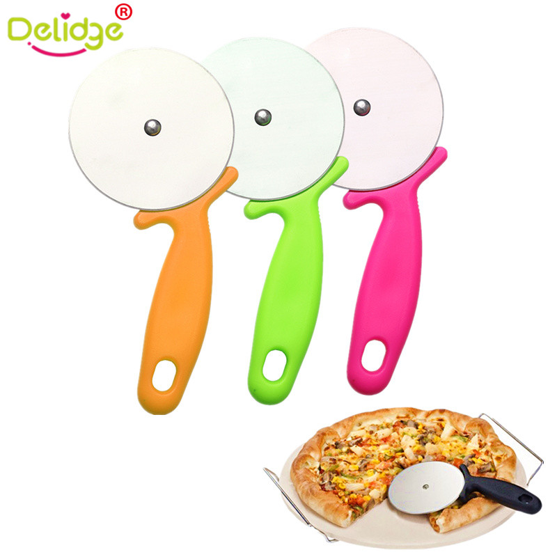 Delidge 1 pc Round Shape Pizza Cutter Stainless Steel  Pizza Wheels Cutting Knife Cake Bread Slicer Baking Pizza Tools нож для пиццы