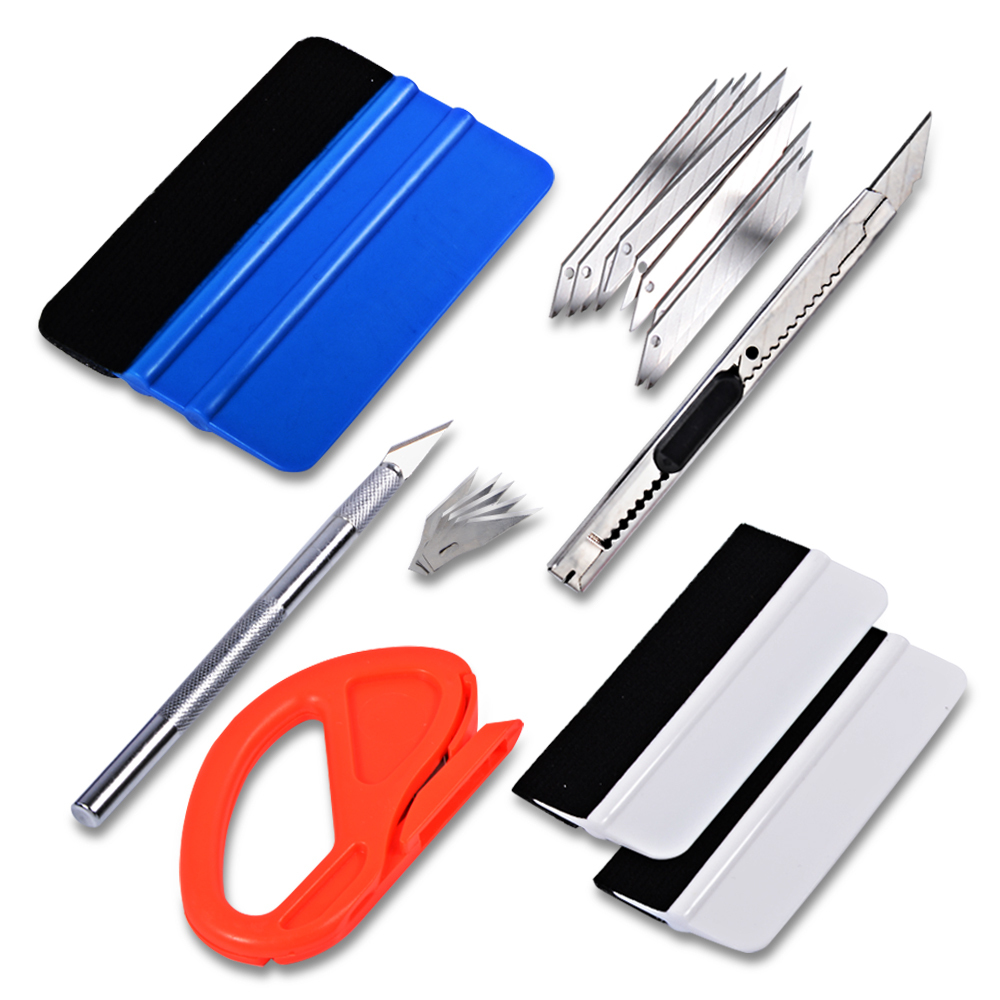 EHDIS Multi Kit Tool Vinyl Car Wrap Set Tools Carbon Fiber Film Cutter Art Knife 3M Felt Squeegee Scraper Auto Window Tint Tools carbon fiber vinyl film wrapping scraper tools bubble window wrapping film squeegee scraper car styling stickers accessories