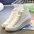 Marca nueva plataforma cuñas de las mujeres zapatos de lona de las mujeres blancas del top del alto aumento de la altura zapatos otoño 5d47T