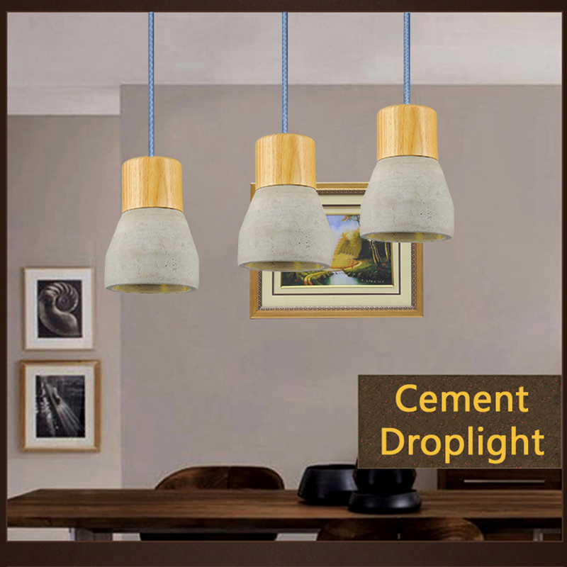 natural style pendant lamps wood cement suspension luminaire e27 110v 220v for decor hanging. Black Bedroom Furniture Sets. Home Design Ideas