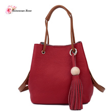 2016 New Casual Women 100% Genuine Leather Bucket Handbags Ladies Small Totes Composite Bags Messenger Bags Wood Bead Tassel
