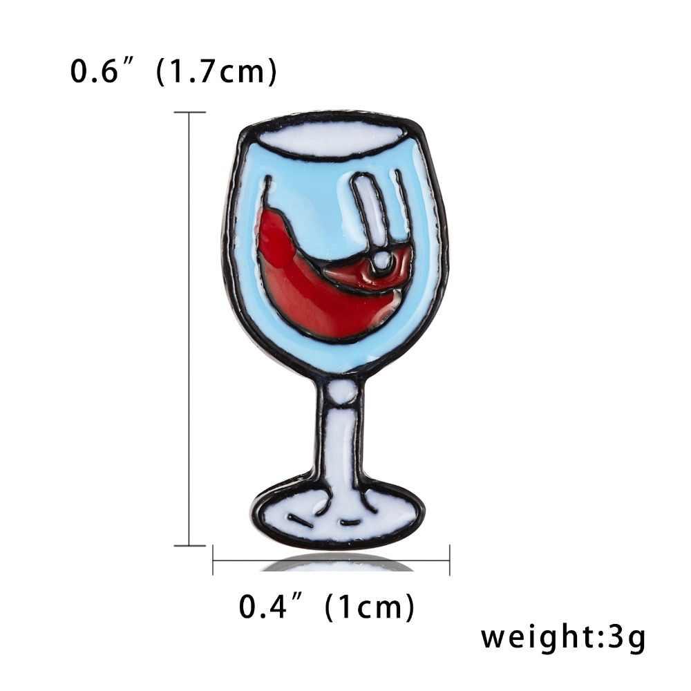 Mini Lucu Gelas Anggur Pasangan Bros Anggur Merah Botol Bros Enamel Pin Lencana untuk Pecinta Terbaik Teman Pin perhiasan