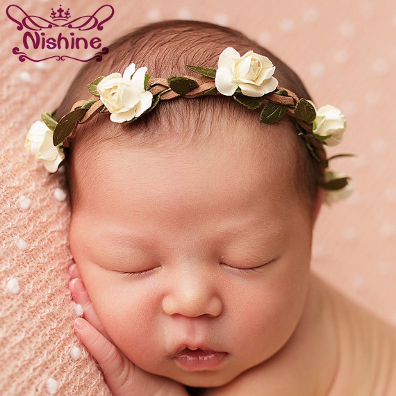 Nishine 16 Colors Newborn Rose Flower Tieback Hemp Rope Headband Kids Girl Hair Band Children Flower Headwear Photography Prop