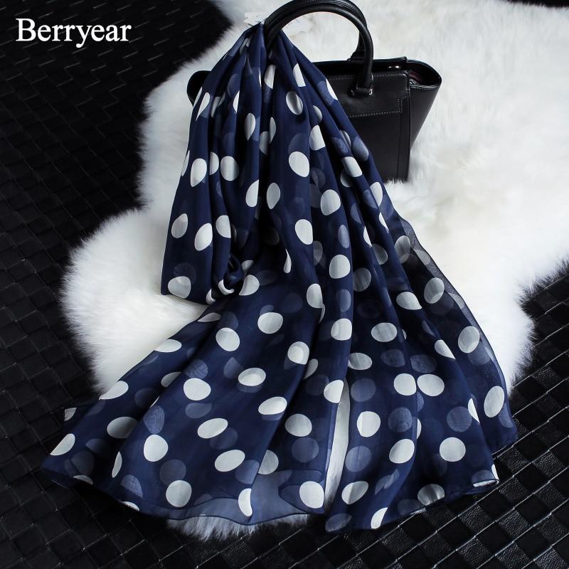 Berryear Sommar Style Långa Silk Scarves Kvinna Polka Dots Print - Kläder tillbehör