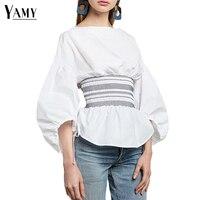 Long Lantern Sleeve Female Shirts Women Blouses 2017 Autumn Slim Waist Elegant Women Tops Back Zipper