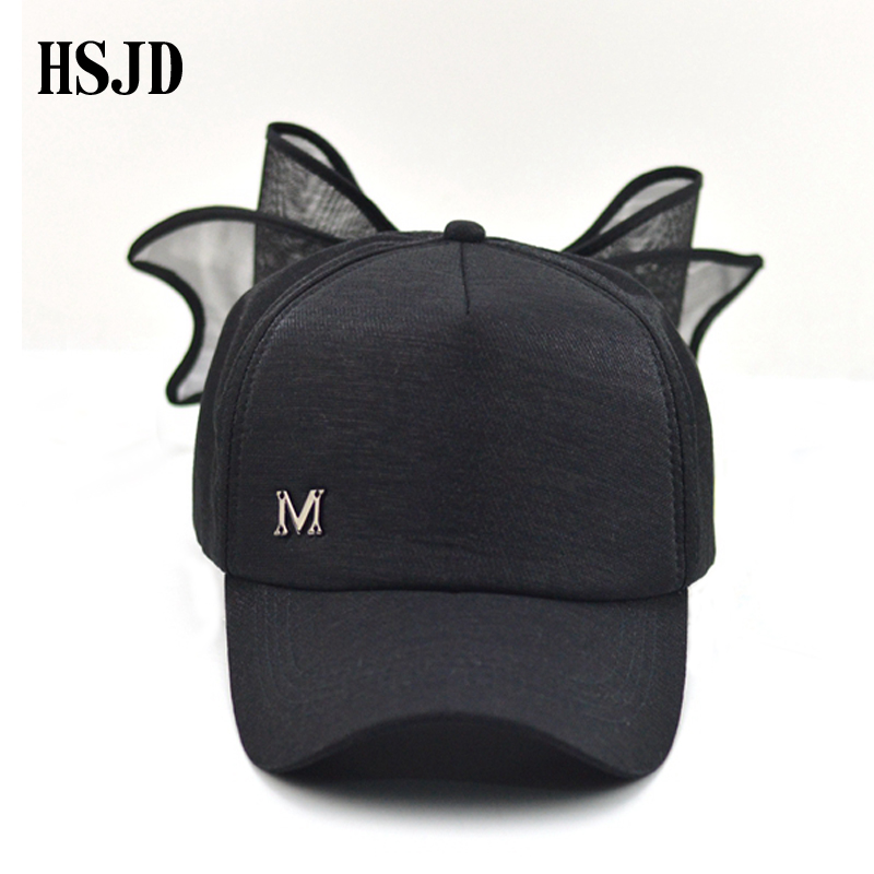 Big Bowknot Baseball Cap for Girl M mark Pink hat for Women Summer Adult Bow Caps Snapback Hip Hop Caps with a straight visor