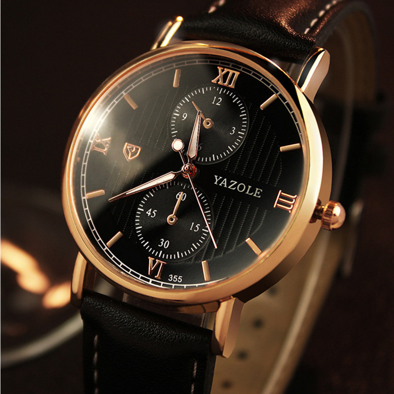 Top Brand YAZOLE Luxury Gold Business Watch Waterproof Leather Quartz Watch Men Fashion Luminous Watch Hour relojes hombreTop Brand YAZOLE Luxury Gold Business Watch Waterproof Leather Quartz Watch Men Fashion Luminous Watch Hour relojes hombre