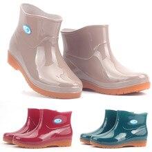 efd50697945 2019 nuevo ocio Botas de lluvia de las mujeres de tacón bajo zapatos de  punta redonda