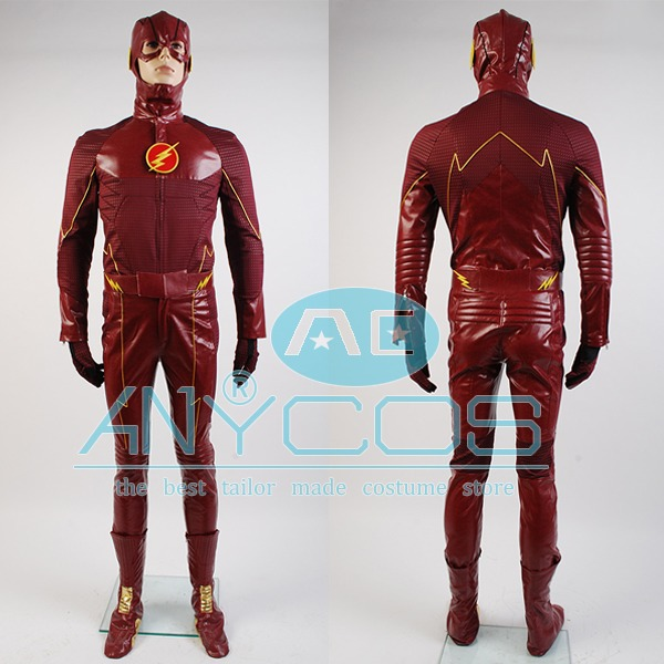 <font><b>The</b></font> <font><b>Flash</b></font> Cospay Barry Allen Red Costume Outfit Adult Uniform <font><b>The</b></font> <font><b>Flash</b></font> <font><b>Boots</b></font> Shoes Halloween Movie <font><b>Cosplay</b></font> Costume Full Sets image
