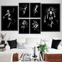 Cartel impresiones DC Comics Marvel superhéroes Batman Joker Super hombre blanco y negro pintura arte de pared fotos habitación decoración para el hogar(China)