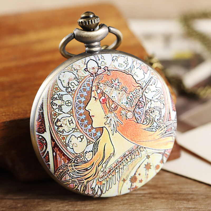 Beautiful Girl Pocket Watch Fob Chain Necklace Pendant Mens Flip Case Watch Women Ladies Quartz Dresses Retro Clock For Men Male