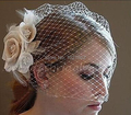 Hot Selling In Stock Bride Veil Comb Blusher Birdcage Tulle Ivory Champagne Flowers Feather Bridal Wedding Hots Hat Dress