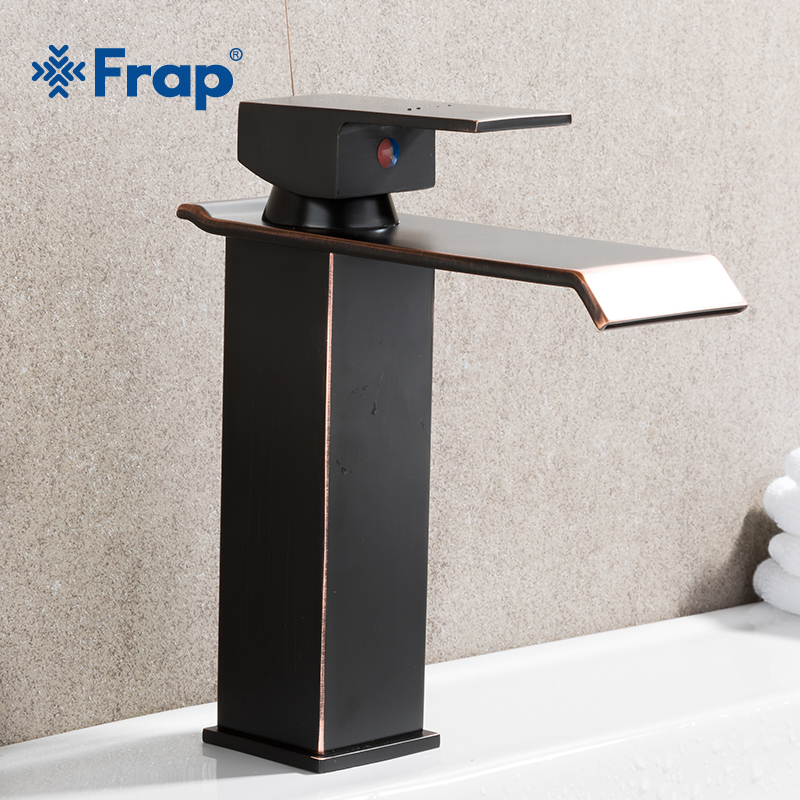 FRAP Newly Deck Mounted Black Basin Faucet Waterfall Bathroom Sink Taps Single handle Brass Hot and Cold Mixers Square TapY10142 widespread black bathroom faucet deck mounted waterfall bath sink basin hot and cold water taps dual handle mixers