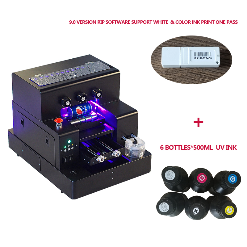 Automatico A4 formato UV stampante Flatbed macchina per la cassa del telefono, bottiglia, acrilico, in pelle con 6*500ml per set di inchiostro UV incluso