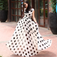 Women Deep V Neck  Maxi Long Floor Length Black/White Polka Dot Print Chiffon Dress