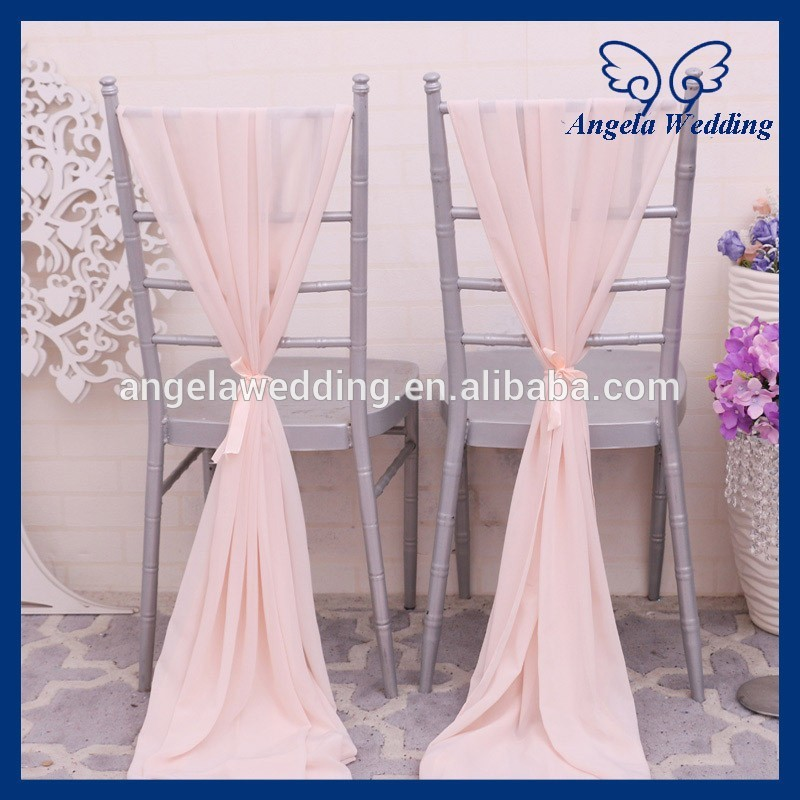 SH004E cheap elegant fancy wedding blush pink chiffon chair sash with ribbon