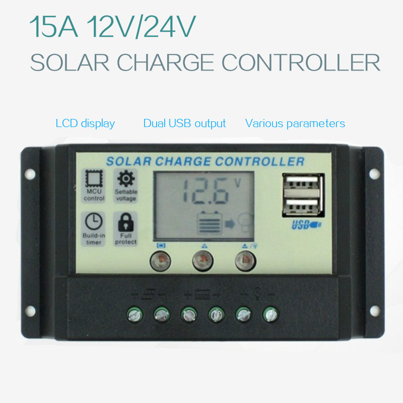 Solar Charge Controller 12V24V15A Solar Panel Charge Regulator Switching Controller With Universal USB 5V Charging LCD