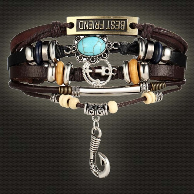 Best Friend Anchor Bracelets For Women Men 2017 Diy Wristband Female Hook Stone Leather Bracelet Mujer