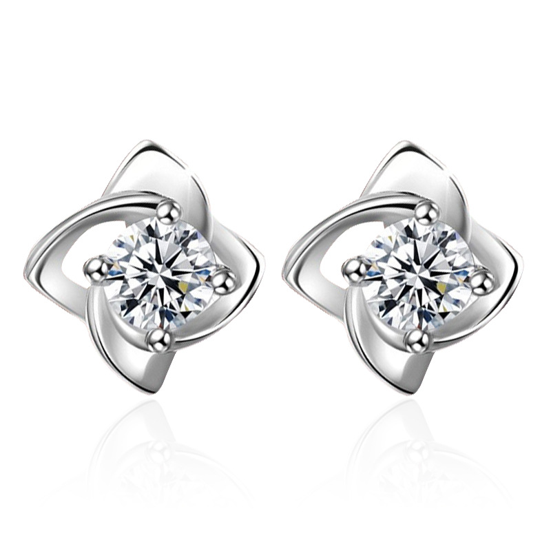New Arrivals Trendy Flower Crystal 925 Sterling Silver Lady Stud Earrings Original Jewelry For Women Statement Earrings Girls in Stud Earrings from Jewelry Accessories