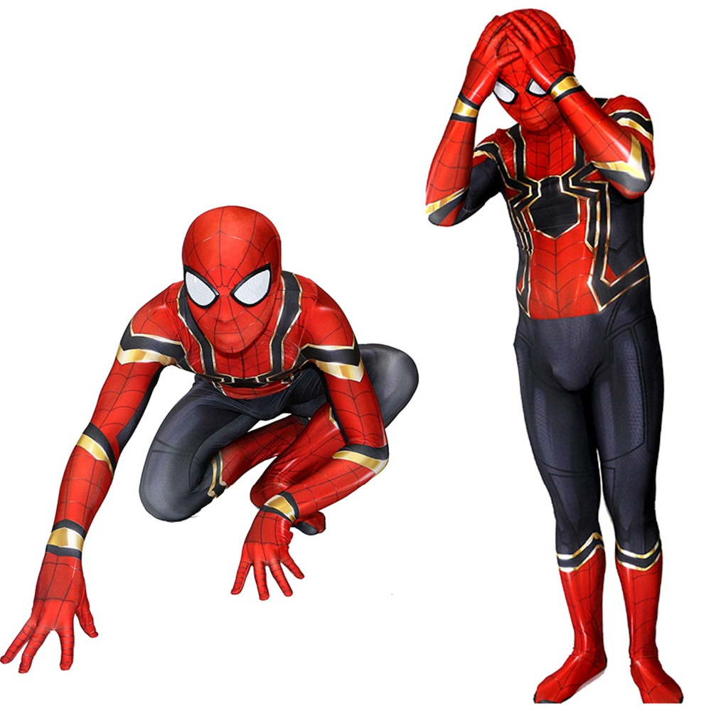 2018 Avengers War Iron Spider Man Cosplay Costume Adult Peter Jumpsuits Kids Halloween Costume Superhero Spiderman Bodysuit Suit