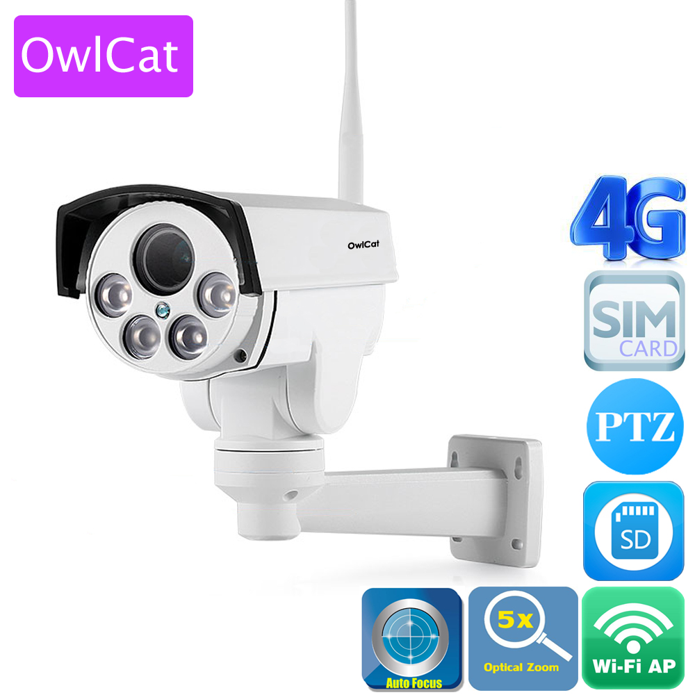 OwlCat 3516C+ SONY323 HD 1080P 3G 4G SIM Card IP Camera PTZ 5X Zoom Pan Tilt Outdoor Bullet Camera Wireless Hotspot Wifi Motion hd 1080p pan