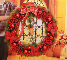 70*70cm Wall Door Hanging Merry Christmas Wreath Xmas Wreaths XMAS Garlands XMAS Tree Door Decor Ornament Bowknot Red/Gold