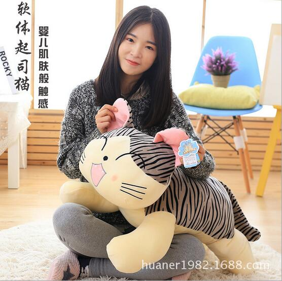 75 cm logiciel baiser chat en peluche poupée jouet mignon animal chat oreiller meilleur cadeau