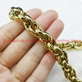 Charming  Yellow Gold Plated Male 316L Stainless Steel 9/11MM Wide Chain Necklaces Cuban Style Mens Jewellery, High Quality