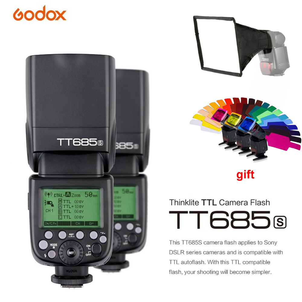 Godox TT685S 2.4G HSS 1/8000s i-TTL GN60 Wireless Speedlite Flash+X1T-S Trigger for Sony A77II A7RII A7R A58 A9 A99 A6300 A6500 2 pcs electrical digital slimming acupuncture massager relieve muscle pain therapy machine with 4pcs electrode pads for tens