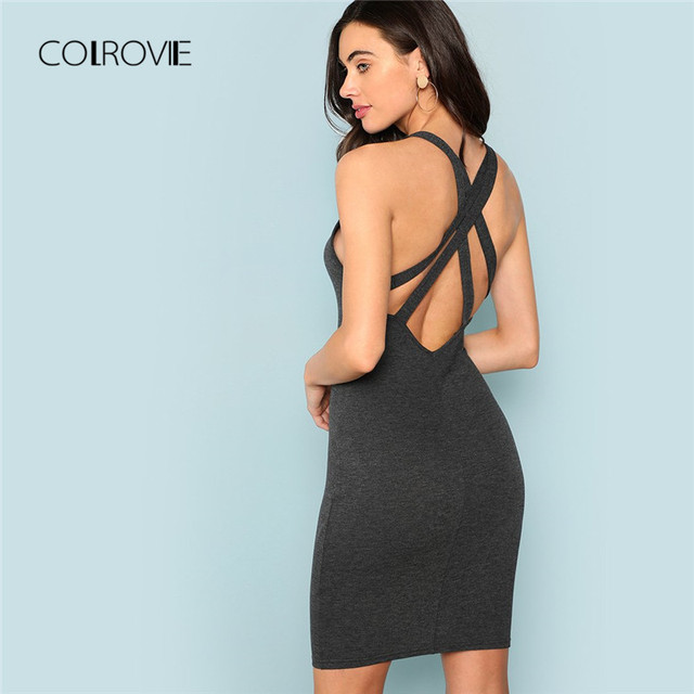 4586654dc2 COLROVIE Grey V Neck Crisscross Back Sexy Bodycon Dress 2018 Solid Backless  Night Out Summer Dress