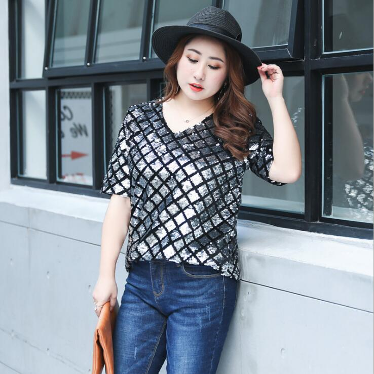 Women's summer plus size sequined t shirt lady's sexy black silver color casual shirt performance shirt xl~4xl TB112