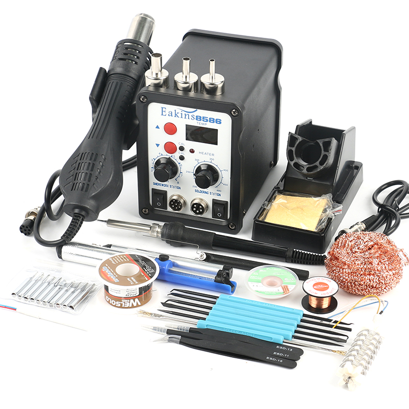8586 2 in 1 ESD Soldering Station SMD Rework Soldering Station Hot Air Gun set kit Welding Repair tools Solder Iron EU 17pcs 30w electric soldering iron set welding hot gun repair tools with solder paste tweezers tin wire for diy hand tools