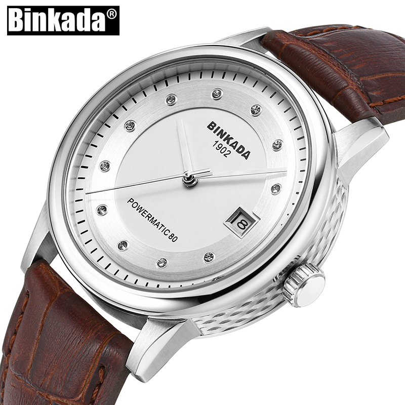 Stainless Steel Simple Sport Men's Watch Luxury Mens Automatic Mechanical Self Wind Watch New Business Casual Analog Date Watch original binger mans automatic mechanical wrist watch date display watch self wind steel with gold wheel watches new luxury
