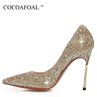 COCOAFOAL Woman Bling Pumps Plus Size 32 43 Fashion Sexy 10 CM High Heels Shoes Gold Silver Red Scarpe Sposa Wedding Pumps