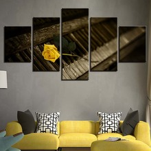 Modern Home Wall Art Decor Frame Pictures 5 Pieces Retro Wood Piano Yellow Rose Flower HD Printed Oil Painting On Canvas Posters