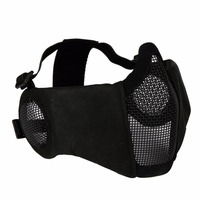 New Tactical Airsoft Mask Half Lower Face Metal Steel Net The Field Elite Ear Protection Outdoor