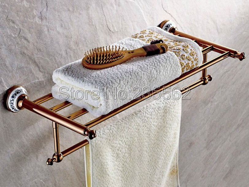 Rose Golden Brass Porcelain Base Wall Mounted Bathroom Towel Rack Holders Shower Towel Rack Shelf Bar Rails Holder lba383 black space aluminum wall mounted foldable bathroom towel rack holders shower towel rack shelf bar with hooks