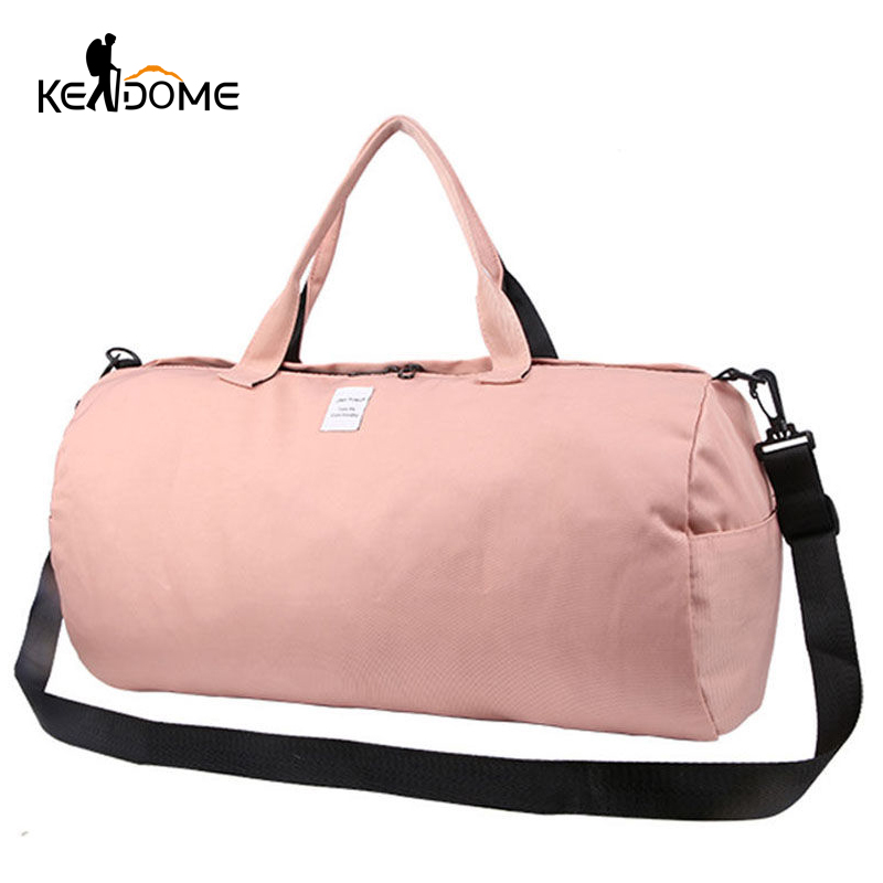 2018 Top Female Sports Nylon Gym Bags Lady's Fitness Yoga Bag Handbags for Women Over the Shoulder Fancy Travel Bag Pink XA507WD