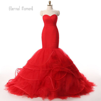 Rea Photo Sexy Red Mermaid Evening Dresses Long 2017 Party Women Formal Evening Gowns Dresses