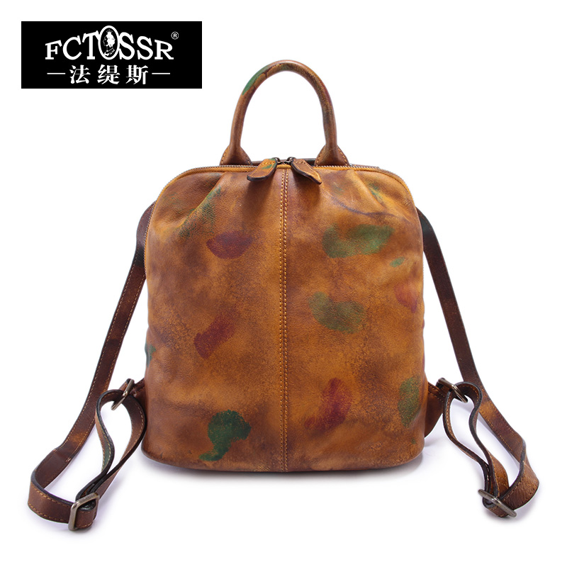 2017 Genuine Leather Vintage Backpack Brush Color Handmade Cow Leather Backpack Top Handle Bag 2017 genuine leather vintage travel backpack cow leather brush color women bags cow leather backpack top handle bags