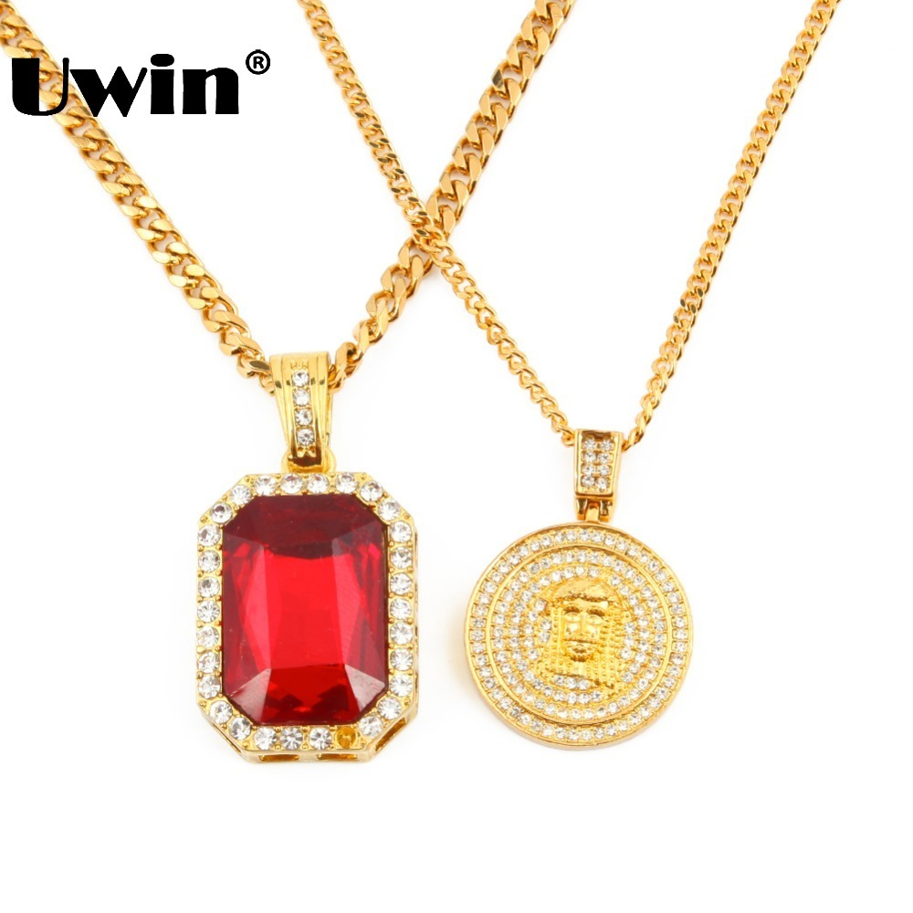 Men's Iced Out Hip Hop Gold Red Rhinestones Square Pendant Cuban Chain Necklace Lab Simulated  Mini Jesus Piece Pendant Necklace