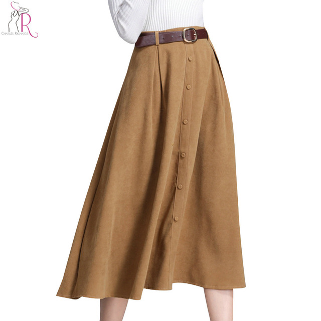 392546c294 Black and Khaki High Waist Button Front Midi Skirt Women Fall Winter Casual  Straight Bottom Wear