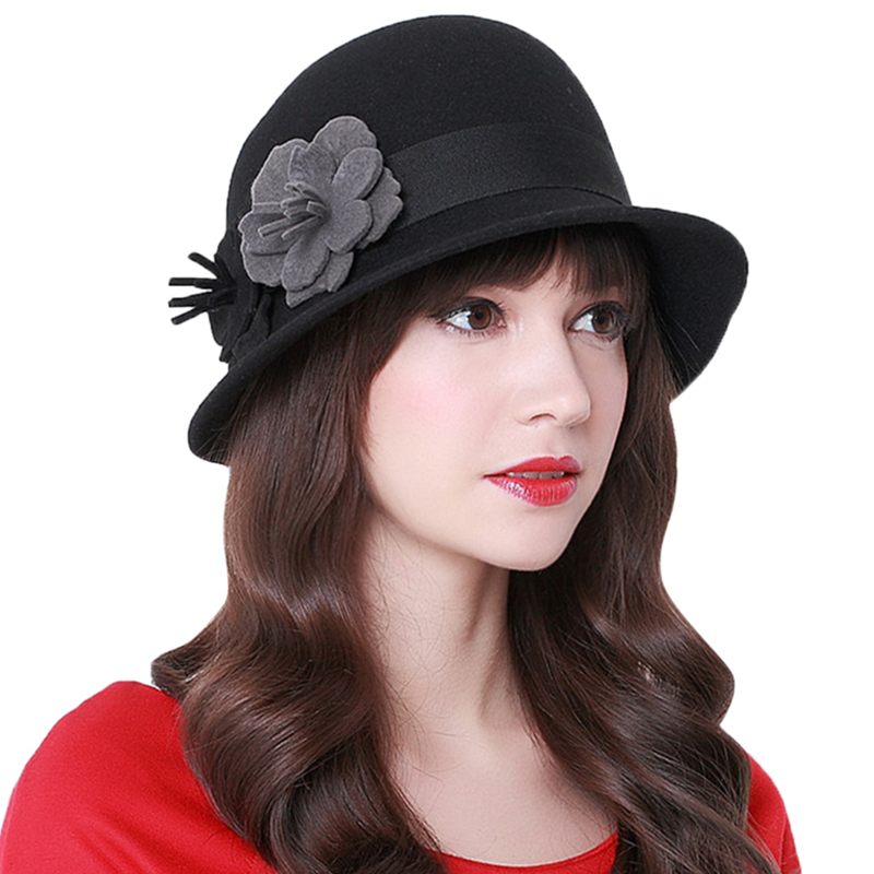 Vintage Stylish Fall Winter Fedoras Hat For Women Flowers Top Hat Girls 100% Pure Wool Floppy Cartola Female Felt Bowler Cap