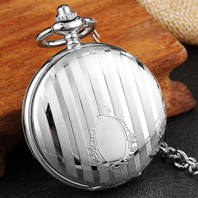 Luxury Silver Stripe Carved Vintage Mechanical Pocket Watch Double Side Skeleton