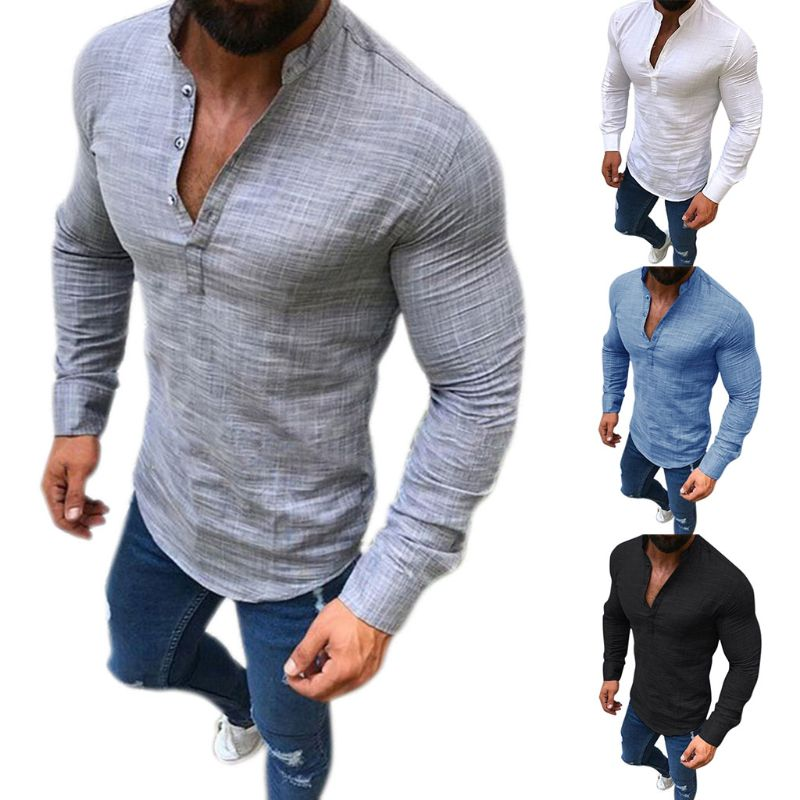 2018 Fashion New Men's Linen Long Sleeve Tops V-Neck Button Up Shirts Business Solid Color Blouse Casual 4 Styles Plus Size