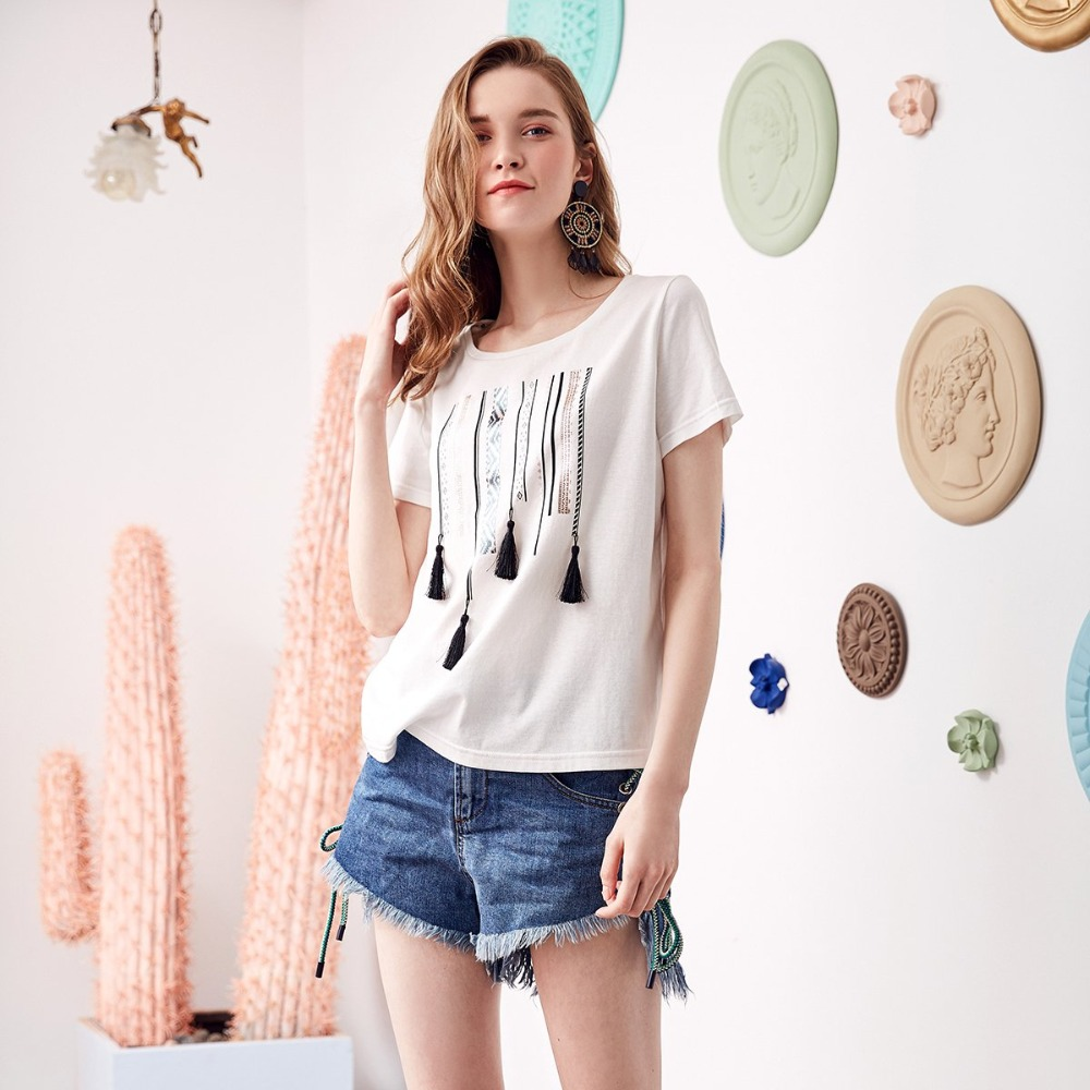 ARTKA 2019 Early Spring and Summer New Ethinic Tassel Decoration Fashion Hot Stamping Round Neck T shirt TA15380X in T Shirts from Women 39 s Clothing