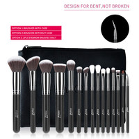 MSQ Pro 15pcs Makeup Brushes Set Foundation Shadow Powder Make Up Cosmetic Synthetic Hair Brushes With PU Leather YA250