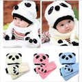 Baby Girl Boy Kids Super Cute Lovely And Warm Children Soft Plush Panda Cap Match Scarf Cartoon Hat with Scarf  HT27